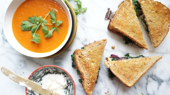 kale on onion grilled cheese and cilantro tomato soup // kitchenblend